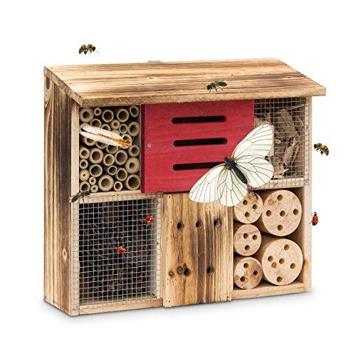 Relaxdays Insektenhotel gebrannt HBT 29 x 33 x 13,5 cm Bienenhotel aus Naturmaterialien als Unterschlupf für Käfer, Bienen, Wespen und Schmetterlinge Insektenhaus aus Holz mit Flachdach, natur
