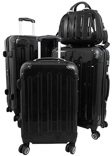 Reisekoffer Hartschalenkoffer Beautycase 4 teilig S-M-L-XL Mauritius Schwarz