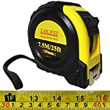 25 FT Tape Measure, LOLBIU Measuring Tape with Impact Resistant Rubber Covered Case, Strong Lock, Compatible with Inch and Metric.