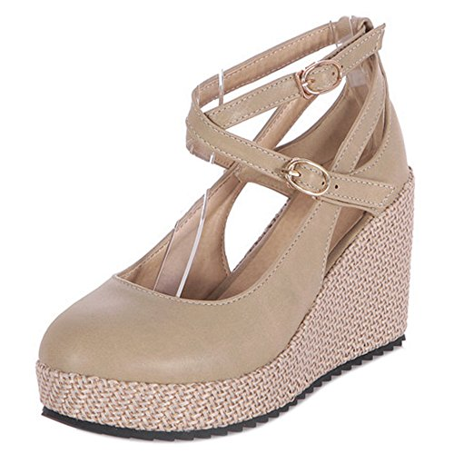 COOLCEPT Damen Mode Kreuz Sommer Pumps Geschlossene Keilabsatz Schuhe Beige