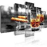 murando - Bilder 225x112 cm Vlies Leinwandbild 5 TLG Kunstdruck modern Wandbilder XXL Wanddekoration Design Wand Bild - Whisky Zigarre 030106-15