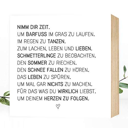 Nimm Dir Zeit - einzigartiges Holzbild 15x15x2cm zum Hinstellen/Aufhängen, echter Fotodruck mit Spruch auf Holz - schwarz-weißes Wand-Bild Aufsteller Zuhause Büro zur Dekoration oder als Geschenk-Idee