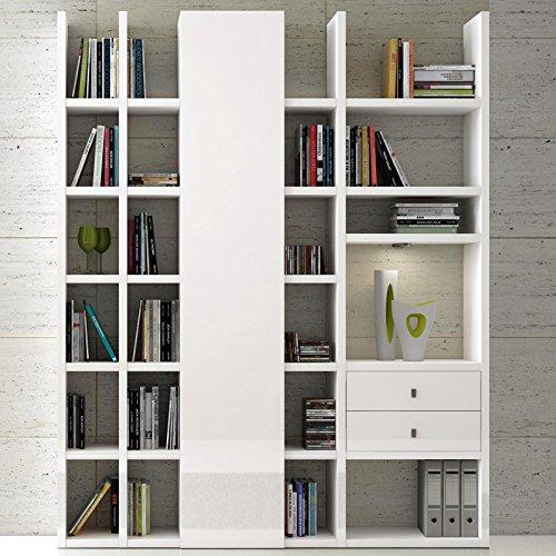 Wohnwand Bücherregal Hochglanz weiß Aktenregal Wandregal Regal CD DVD Büromöbel