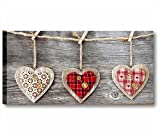 Quadri L&C ITALIA Vintage Love 5 | Quadro Moderno Made in Italy Stampa Tela Canvas 90 x 45 | Pannello XXL Soggiorno, Cucina, Salotto, Camera Letto | Shabby Chic Rustico Cuori Rosso Bianco Country