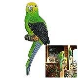 K7plus® - Wellensittich grün 31 cm für Zaun, Wand und Balkon - links grün / schwarz - Eine schöne Zaunfigur, Zaunhocker, Zaungast oder Deko Dekoration Gartenfigur. Für Balkon, Terrasse, Zäune, Wände, Sträucher und Bäume.