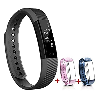 NAKOSITE SB2433 Best Fitness Tracker Pedometer Activity Tracker Smart Bracelet, Step Counter, Calorie Counter, Sleep Monitor, Distance, Sport Watch, with Walking and Running App from VeryFit for iPhone and Android phones (Bluetooth 4.0 for Android 4.4 or