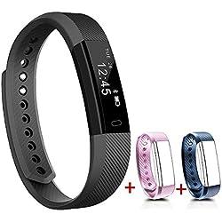 NAKOSITE SB2433 Pulsera Actividad Inteligente Podómetro Fitness reloj Fitness Tracker, Contador de Pasos, Contador de Calorías, Monitor de Sueño, Distancia. Se conecta con los celulares iPhone y Android SOLAMENTE. Requiere de Bluetooth 4.0, para Android 4.4 o IOS 7.1 y posteriores. EXTRA: SMS, Identificador de Llamada, Alerta de Alarma, Anti-pérdida, Encontrar Celular, Tomar Fotografías, Alertas SNS como de WhatsApp y Facebook. Color Negro.