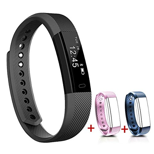 NAKOSITE SB2433 Best Fitness Tracker Pedometer Activity Tracker Smart Bracelet Step Counter, Calorie Sleep Monitor Distance, Bluetooth 4.0 for Android 4.4 or IOS 7.1 and above ONLY