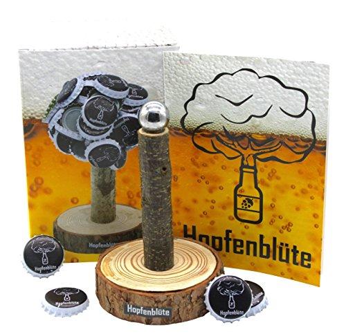51Hr6BsZEtL - HOPFENBLÜTE ® - Magnetbaum Holz - Männer Geschenk Geburtstag - Partygeschenk - Bis zu 60 Kronkorken - Magnetbaum - Bier