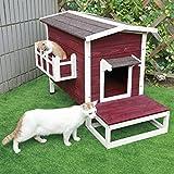Petsfit - Tenda per Gatti, Resistente alle intemperie, per Esterni, con Scale, 70 x 44 x 51 cm
