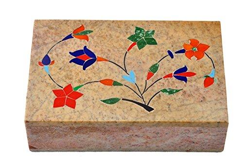 Pittura floreale decorativo marmo scatola per gioielli di archiviazione/regalo fatto a mano e realizzato a mano in pietra di scatola/cofanetto portagioie/organizer/confezione regalo con tradizionale design (15,2cm)