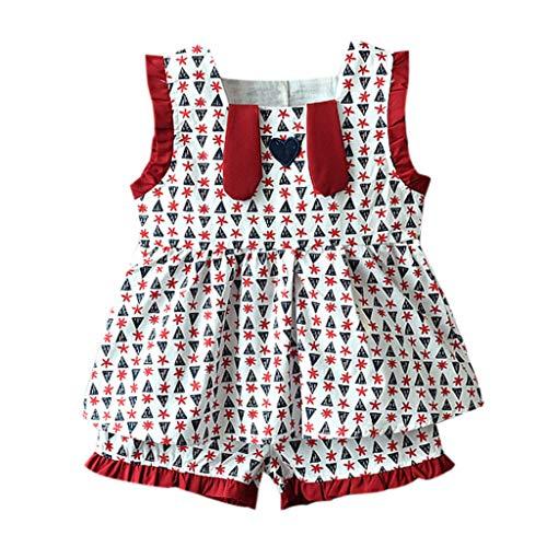 DressLksnf Baby Mädchen Kleidung Set Kleinkind Rüsche Druck Weste + Shorts Outfit 2Pcs Set