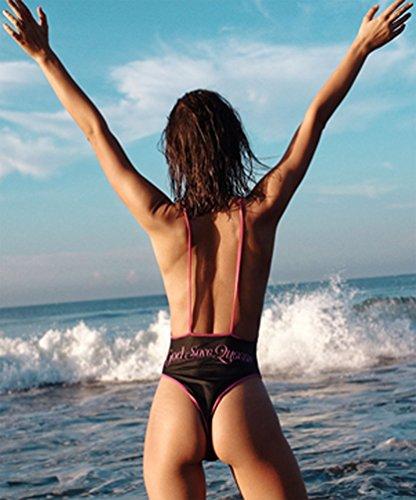 Costumi da Bagno Interi Trikini Un Pezzo Monokini Costumi Push Up Imbottiti Donna Bikini Triangolo Mare Donna Costume da Bagno Intero Bikinis Estate Sportivi Femminili Vintage Beachwear Nero