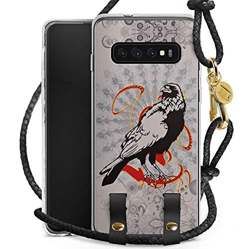 e kompatibel mit Samsung Galaxy S10 Plus Hülle zum Umhängen Handykette Rabe Raven Crow ()