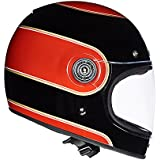Royal Enfield HEAW17031 Bruntingthorpe Stripes Drifter Helmet (Black and Red, XL)