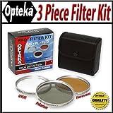 Opteka 37mm 3Stück High Definition II Pro Filter-Set (UV, PL, FLD) für JVC | GR D70D30DV800HD500-HM550HM300HM320HD510HM340& Panasonic HDC-HS100GS80