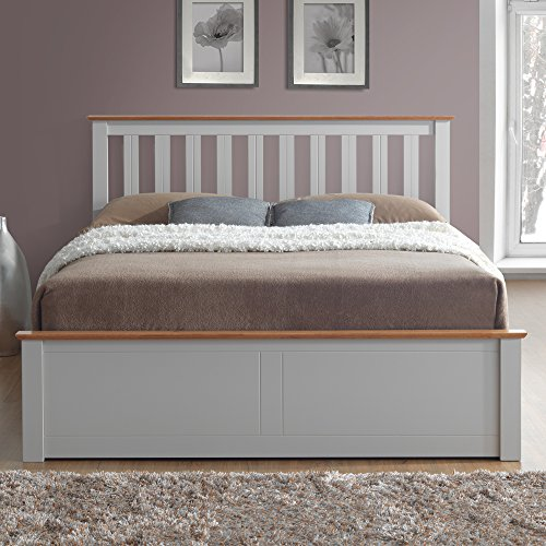Happy Beds Phoenix Ottoman Storage Bed Pearl Grey Finish Modern Wooden Orthopaedic Mattress 4'6'' Double 135 x 190 cm