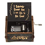 Finmind Antique 18 Note Hand Crank Music Box Antique Carved Wood Music Box Birthday Gifts Ornament Decoration (Black Harry Potter)