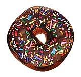 Monsterzeug Sitzkissen Donut XXL Kissen, Doughnut Dekokissen, Schokodonut Sofakissen, Couchkissen mit Tragetasche, Braun, 45 cm