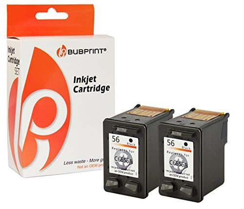 Bubprint 2 Druckerpatronen kompatibel für HP 56 HP56 für Deskjet 5150 5550 5650 Officejet 4215 5510 Photosmart 7260 7660 7760 7960 PSC 1210 1315 Black (1215 Drucker)