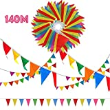 SERWOO 290 Pcs Multicolor Pennant Banner, 140M Décorations en Tissu de Nylon Drapeaux Fanion Triangle Banderole Coloré pour Fête Cérémonies Mariage et Jardin (6,8-7,8M par chaque Banderole)