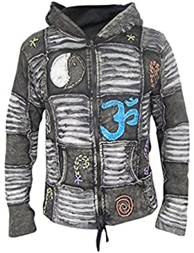 Little Katmandú Hombre Gótico costillas Razor Cut Pixie de forro polar capucha chaqueta sudadera con capucha