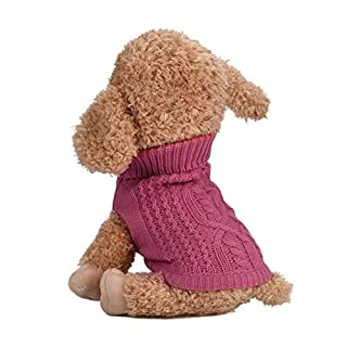 Artistic9(TM) Small Dog Pet Sweater Puppy Winter Knitted Clothes (S, Hot Pink)