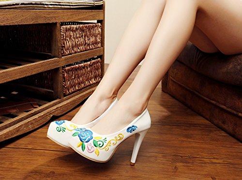DESY scarpe belle, scarpe ricamate, tacchi alti impermeabili, scarpe retrò vento nazionale White