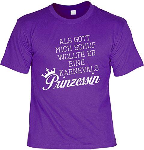 Fun T-Shirt mit Faschingsmotiv: Als Gott mich schuf wollte er eine Karnevals Prinzessin - Das etwas andere Kostüm - violett Violett