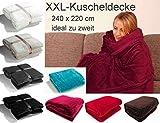 Fashion&Joy PREMIUM Flanell Kuscheldecke Super Soft 240 x 220 cm XXL in anthrazit grau - pflegeleicht - fusselfrei - geprüfte Qualität - Ökotex zertifziert - Wohndecke dunkelgrau Typ380