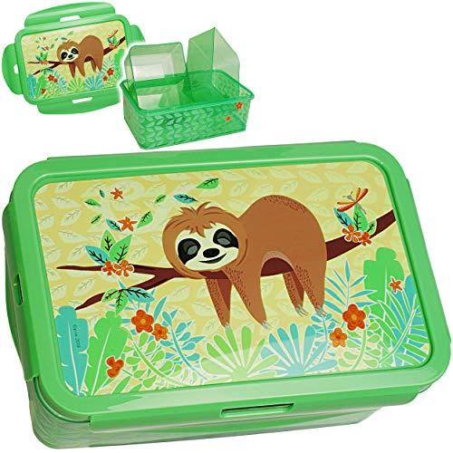 Unbekannt XL - Lunchbox / Brotdose / Bento Box -  lustiges Faultier  - BPA frei - mit extra Einsatz / 3 herausnehmbare Fächer - Clipverschluß Clips - Brotbüchse Küche..