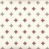 Tissu de coton imprimé | Tissus de Noël - écru avec flocons de neige (rouge et taupe) | Largeur: 160cm (1 mètre)