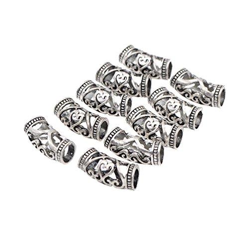 Ynuth 10pz dreadlocks perline clip capelli per trecce incisione hollow decorazione cappelli branelli fermagli treccia branelli