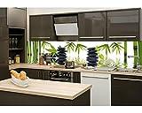Küchenrückwand Folie selbstklebend ZEN STEINE 260 x 60 cm | Klebefolie - Dekofolie - Spritzschutz für Küche | PREMIUM QUALITÄT