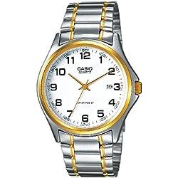 Casio-MTP - 1188PG 7B-Classic-Men's Watch Analogue Quartz White Dial Steel Strap Grey