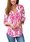 FIYOTE Womens New Print V-Neck Loose Casual Cuffed Long Sleeve Blouse Tops (S-XXL) X-Large Rosy