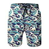 Men Swim Trunks Beach Shorts,Traditional Oriental Style Ocean Waves Pattern with Foam and Splashes Print XL