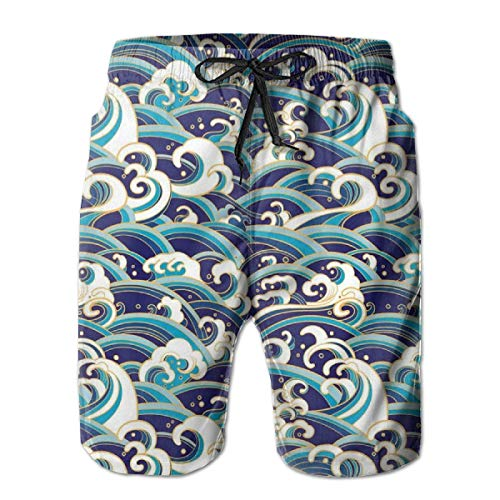 Men Swim Trunks Beach Shorts,Traditional Oriental Style Ocean Waves Pattern with Foam and Splashes Print L -