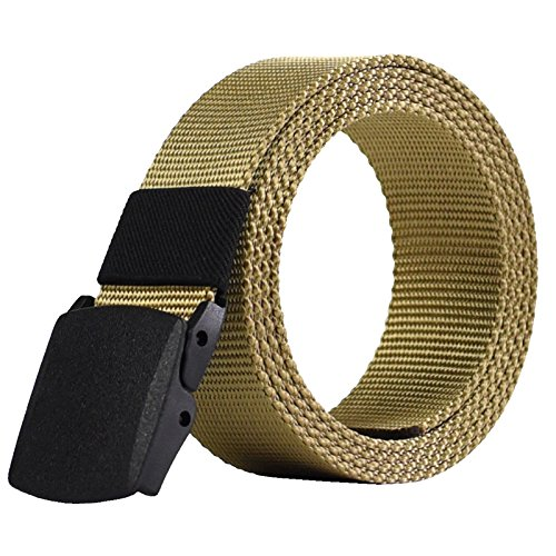 ZHYAODAI Unisex Nylon Belt Army Male Military Tactical Belt Mens Canvas Waist Belt Automatic Buckle, Khaki, 120Cm.