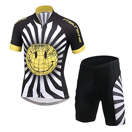 LSHEL Kinder Radsport Anzüge (Fahrrad Trikot Kurzarm + Radhose), Lächeln, 122/128(Herstellergröße: L)