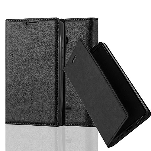 Cadorabo Hülle für Nokia Lumia 435 - Hülle in Nacht SCHWARZ – Handyhülle mit Magnetverschluss, Standfunktion und Kartenfach - Case Cover Schutzhülle Etui Tasche Book Klapp Style