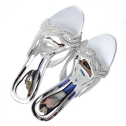 Kick Footwear - Donna tacco basso diamante scarpe tacchi glitter di nozze Womens partito prom shoes Argento