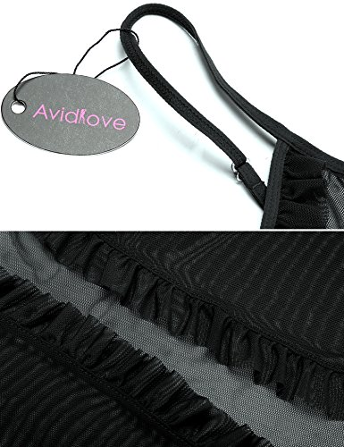 Avidlove Damen Semi-Transparente Vorne Offene Babydoll Nachtkleid mit Vornem Band Verschluss A Schwarz