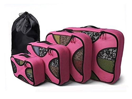 4Pz Cubi Di Imballaggio + 1 pc sacco della biancheria - Borse viaggio stabiliti per i bagagli Valigie zaino organizzatori (Rosa)