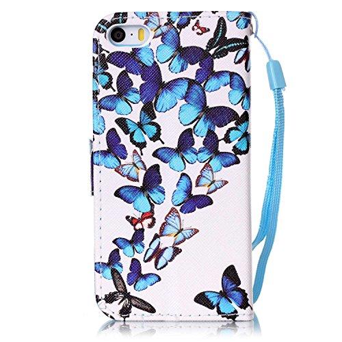 Für iPhone SE/Für iPhone 5/5S Gurt Lederhülle Schutzhülle,Für iPhone SE/Für iPhone 5/5S Seil Lanyard Full Body Schutz Tasche Case,Funyye Stilvoll Mode [Bunt Bedruckt] Flip Wallet Case Slim PU Leder Co Blaue Schmetterlinge