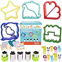 GET FRESH Sandwich Cutters for Kids - [20-pcs] Set with 5 Sandwich Shapes/Cookie Cutters/Bread Cutters - Comes with 5 Vegetable Cutters and Bonus 10 Bento Decorations