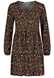 Sublevel Damen Kleid mit Blumen-Muster Langarm Herbst Frühling Black S/M