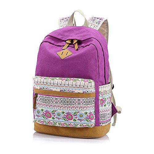 Yimidear zaino donna in tela per scuola casuale con decorazione fiore laptop entro 14 Viola