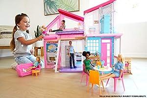 Barbie - Casa Malibu, Casa de Muñecas de dos Pisos Plegable con Muebles y Accesorios (Mattel FXG57)