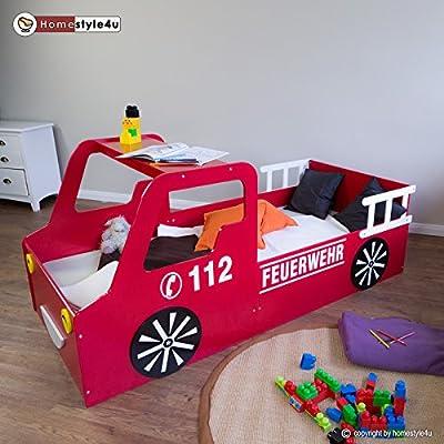 Feuerwehrbett Autobett Kinderbett Spielbett Jugendbett Lattenrost Rot Bett